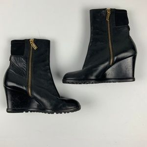 Michael Kors Black Wedge Boots Gold Zippers 5.5